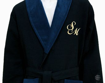 Personalized Blue Navy Waffle Shawl Collar Luxury Bathrobe - Gold Monogram and Name
