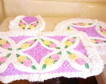 vintage chenille bathroom rug set