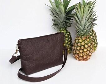 Vegan crossbody handbag brown pinatex minimalist purse