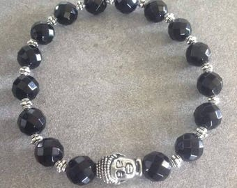 Energized bracelet Protection and well-being in faceted black onyx and silver zen Buddha
