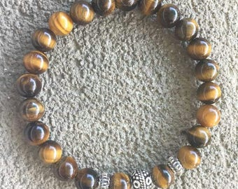 "Please energized Bracelet ""Protective"" Tiger Œil bali sterling silver beads"