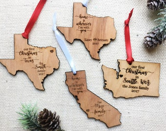 Custom State Christmas Ornament - California - Texas - Washington State Christmas - Customized Ornament - You choose the text - Home