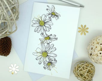 Daisies Card, April Birthday, Friendship Gift, White Flowers, Flower Cards, Mothers Day Card, Birthday Card Mum, Blank Cards, 6x4 Print