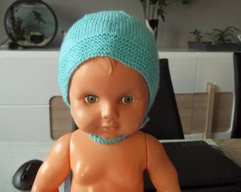 kind turquoise Aviator hat is hand-0-3 months-