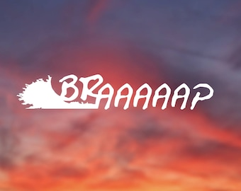 Braaap, motocross, dirt bike,  moto sports, extreme sports, white vinyl, decal, sticker for car, computer, and more