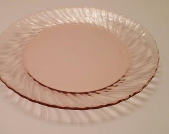 "Arcoroc France Pink Swirl  71/2"" Salad Plate"