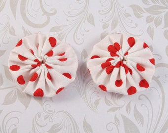 x 2 40mm white polka dot fabric yoyos lot5 Red