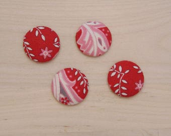 x 4 cabochons 20mm red flowers ref B-10 cloth