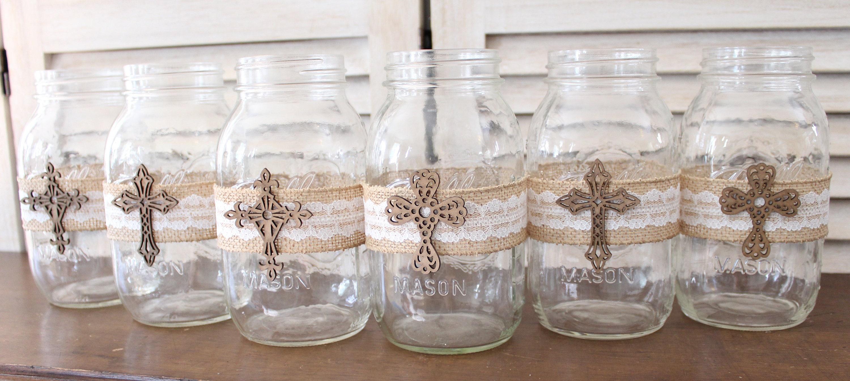 Baptism centerpiece mason jar wraps rustic baptism - Decoration table de communion ...