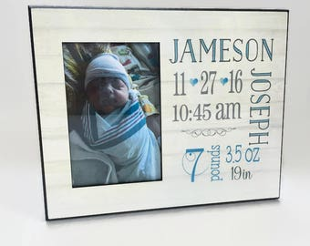 Baby Boy Personalized Picture Frame, Baby Boy Gift, Personalized Photo Frame, Baby Picture Frame