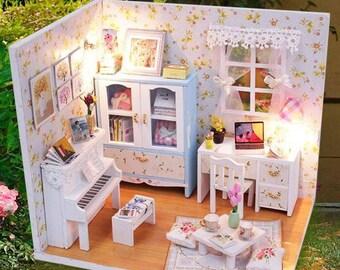 Kit DIY vitrine salon miniature à monter soi-même