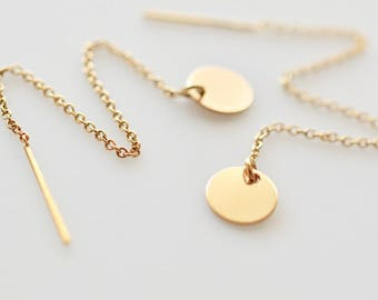 Coin Threader Earrings, Simple Minimal Threader Earrings, Gold Fill Threader Earrings, Sterling Silver Threader Earrings, Drop Earrings