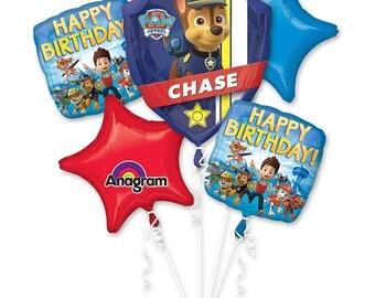 Paw patrol 5 pc Balloon bouquet, Paw patrol birthday decoration,Chase balloons bouquet,  Paw Patrol Decorations