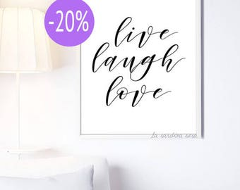 SALE Motivational quote print, Inspirational poster, Live love laugh, Home decor, Typography quote, Printable poster   #0051