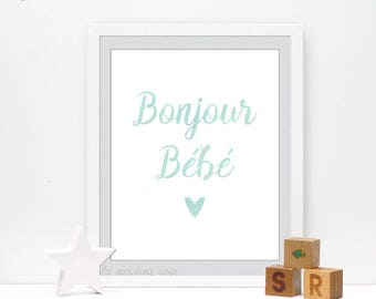 Bonjour bebe french wall art, nursery printable quotes, pastel nursery decor, gender neutral #0046A