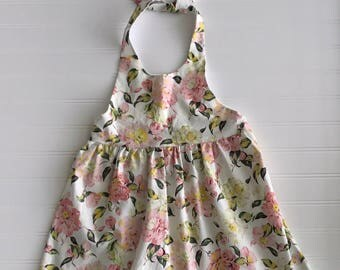 White and Pink Floral Halter Dress Girls Dress