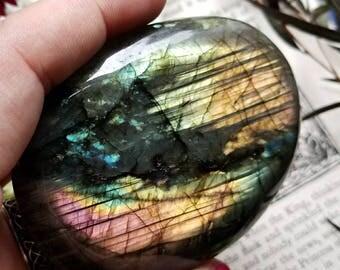 JUMBO Labradorite Palmstone, Labradorite Palm Stone, Pink Flash, Spectrolite, Metaphysical Crystal