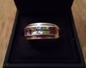 Sterling ring multi color stones