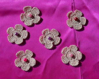 Set of 6 flowers in cotton with beaded scrapbooking hearts