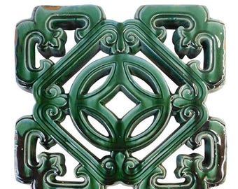 SALES 25% Chinese Oriental Green Glaze Sqaure Ru Yi Clay Tile cs1914E