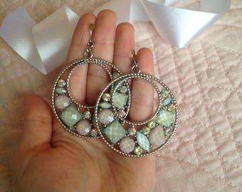 Pastel Earrings - Shell Earrings - Colorful Earrings - Easter Earrings - Spring Time - Large Earrings - Dangle Earrings - Hoop Earrings