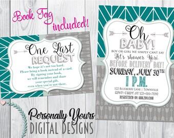 Grey Mint Arrow Themed Baby Shower Invitation
