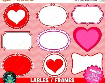 75 off sale valentines frames labels clipart valentine frames valentine labels doodle - Valentines Picture Frames