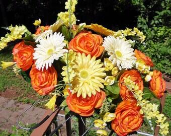 Silk Flower Tombstone Cemetery Saddle