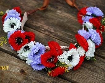Flower Crown. Photo props. Flowers for head, flower hair wreath, sitter headpiece-  flower girl-  floral crown. RTS