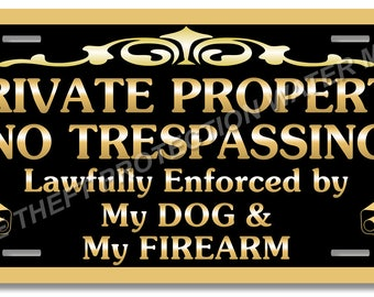"Private Property No Trespassing Beware of Dog Gun Pistol Firearm Video Surveillance Security Sign 6""x12"""