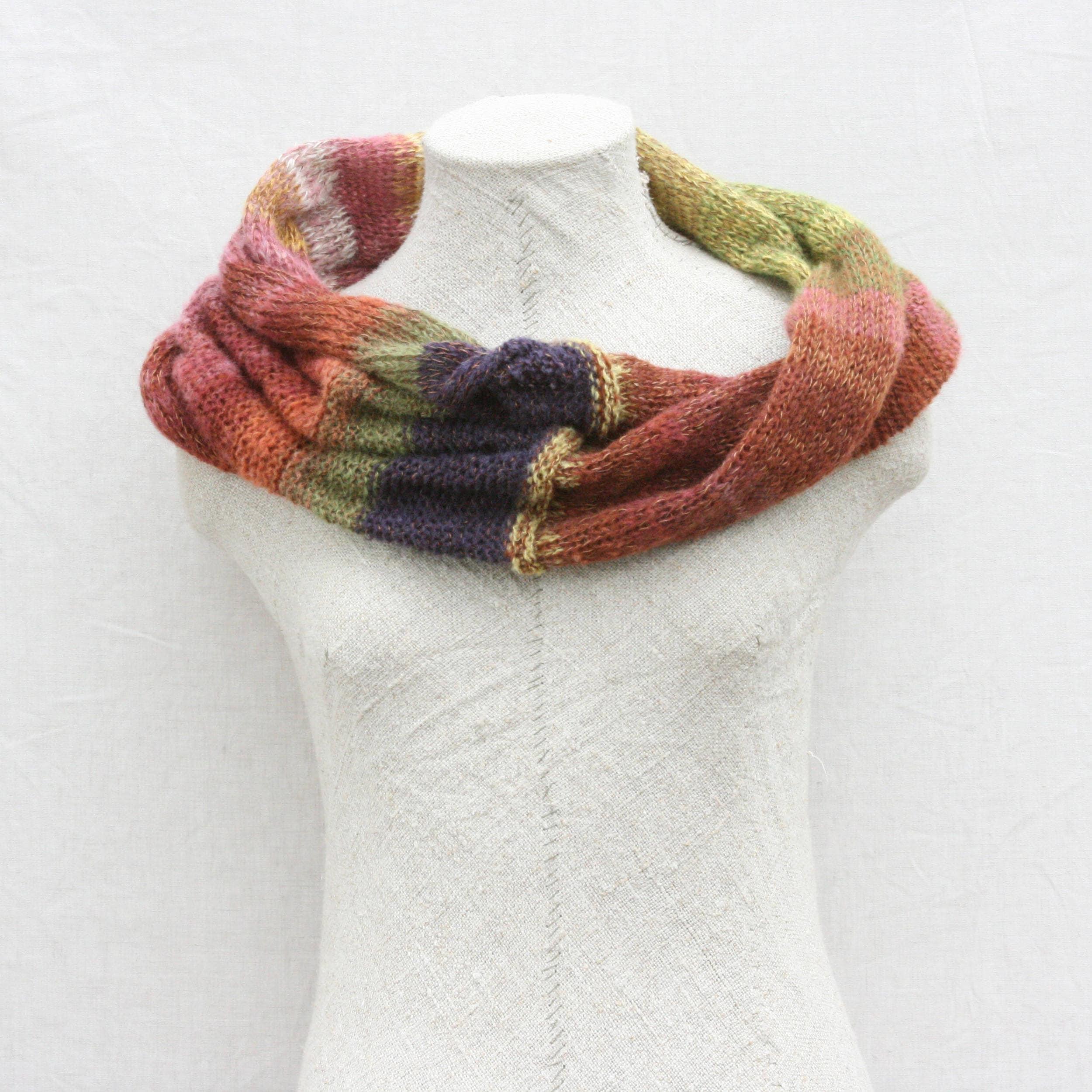Infinity Scarf Knitting Pattern Mohair : Purple Avens 2 kid mohair and silk knit infinity scarf