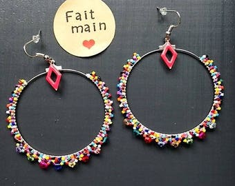 Large 6cm with glass beads and Crystal hoop earrings / / multicolor