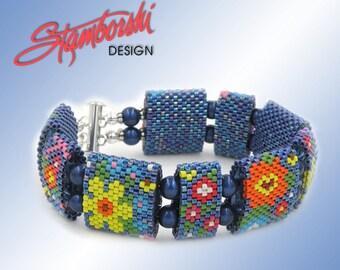 Summer Blossoms - Peyote Carrier Bead Bracelet PDF Pattern