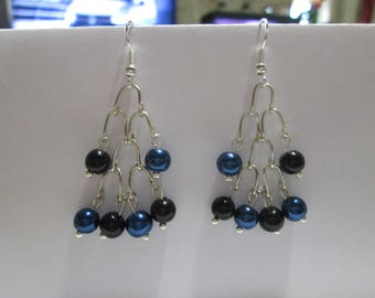Blue and black satin Pearl Earring