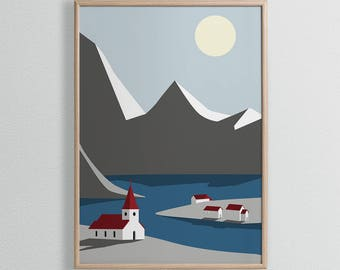 Church On The Lake Wall Art Print - A4, A3 Size - Winter Mountains Print - Scandi Poster - Scandinavian Style - Graphic Christmas Art