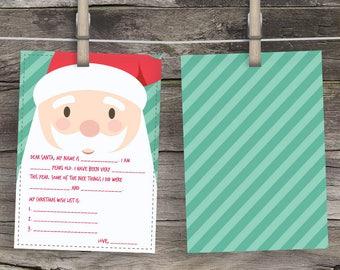 Dear Santa Letter Printable Letter to Santa Nice List Keepsake Children Letter to Santa Christmas Wishlist Santa Letters Christmas Wish List