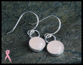 Rose quartz dangle earrings, sterling silver (0.925), 10mm. With donation to Breast cancer research. 239
