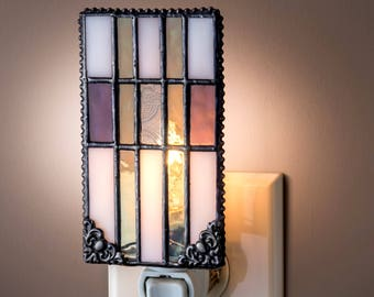 Purple And Green Night Light Mission Style Home Decor Stained Glass Night Light Bathroom Bedroom Nursery