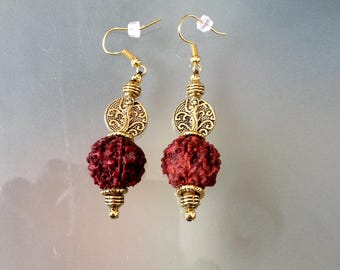 The Nepal Rudraksha seed and gold beads dangle earrings