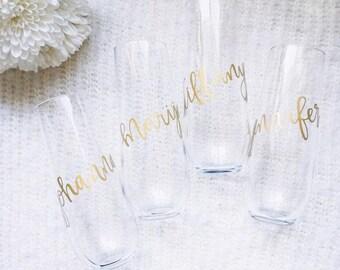 custom name / hand lettered / stemless champagne flute