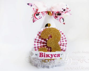 White,gold,pink Minnie Mouse birthday Party Hat-glitter number-Minnie mouse inspired-Paper hat Minnie Mouse-party hat headband-Polka Dot hat