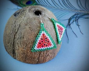 Handmade beaded peyote earrings, triangle earrings, water-lemon earrings