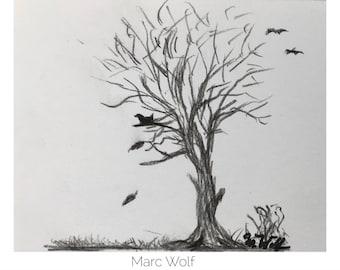 Baum im Herbst, Kohlezeichnung, 11x9,5 cm , Landschaftsmalerei