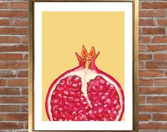 Pomegranate Print, Kitchen Art, Wall Art, Home Decor, Fruit, Food Art, Pink, Yellow, Vibrant, Pom, Pomegranate