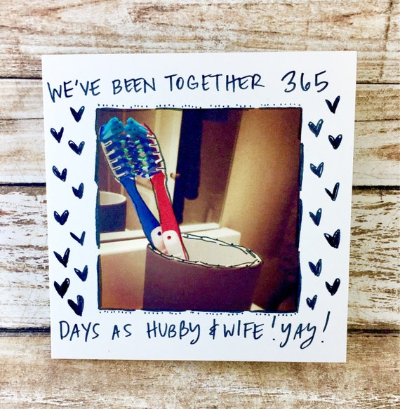 One Year Anniversary Card for her, Card for boyfriend, 365 days, 1st year anniversary, one year anniversary, anniversary hubby, toothbrush