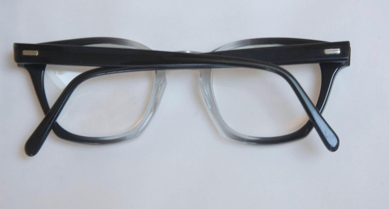 Vintage Mens Eyeglasses 1950s style / Dark Grey fade outs frames /S ...