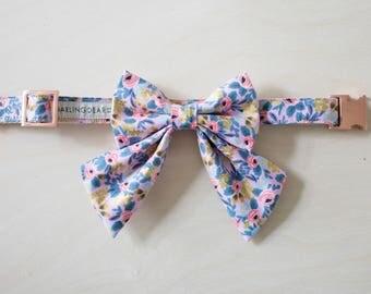 Girl Dog Collar, Rifle Paper Co, Purple Dog Collar, Flower Floral Dog Collar, Rose Gold Hardware, Cat Bow Tie Collar, Wedding Dog Collar