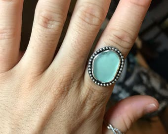 Light Teal Sea Glass Ring; Sterling Silver; Size 6