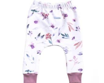 floral harem pants, floral baby pants, baby pants, toddler harem pants, french terry harem pants, harem pants