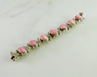 Old Mexico Pink Cat's Eye Sterling Bracelet 6 1/2""